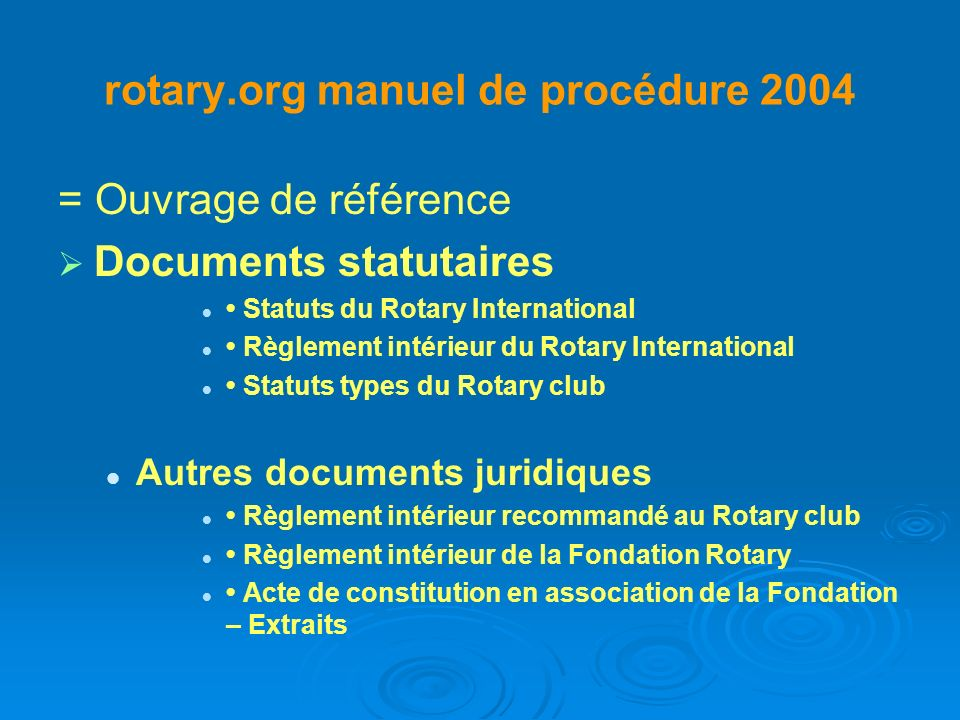 rotary.org manuel de procédure 2004