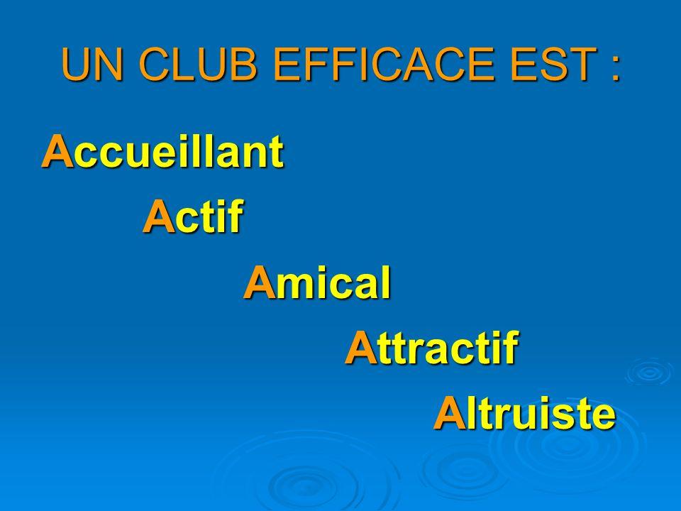 UN CLUB EFFICACE EST : Accueillant Actif Amical Attractif Altruiste