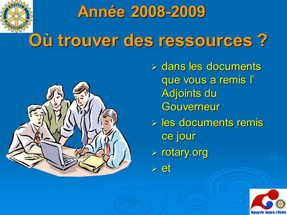 Année 2008-2009 Où trouver des ressources