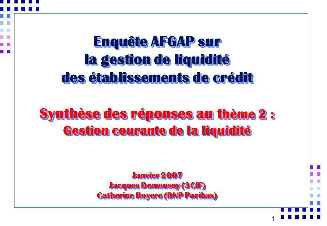 Enquête AFGAP sur la gestion de liquidité des établissements de crédit Synthèse des réponses au thème 2 : Gestion courante de la liquidité Janvier 2007 Jacques Demeusoy (3CIF) Catherine Royere (BNP Paribas)