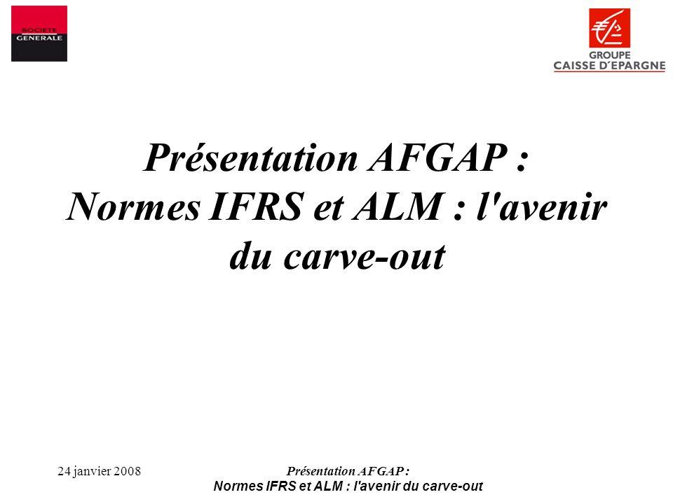 Présentation AFGAP : Normes IFRS et ALM : l avenir du carve-out