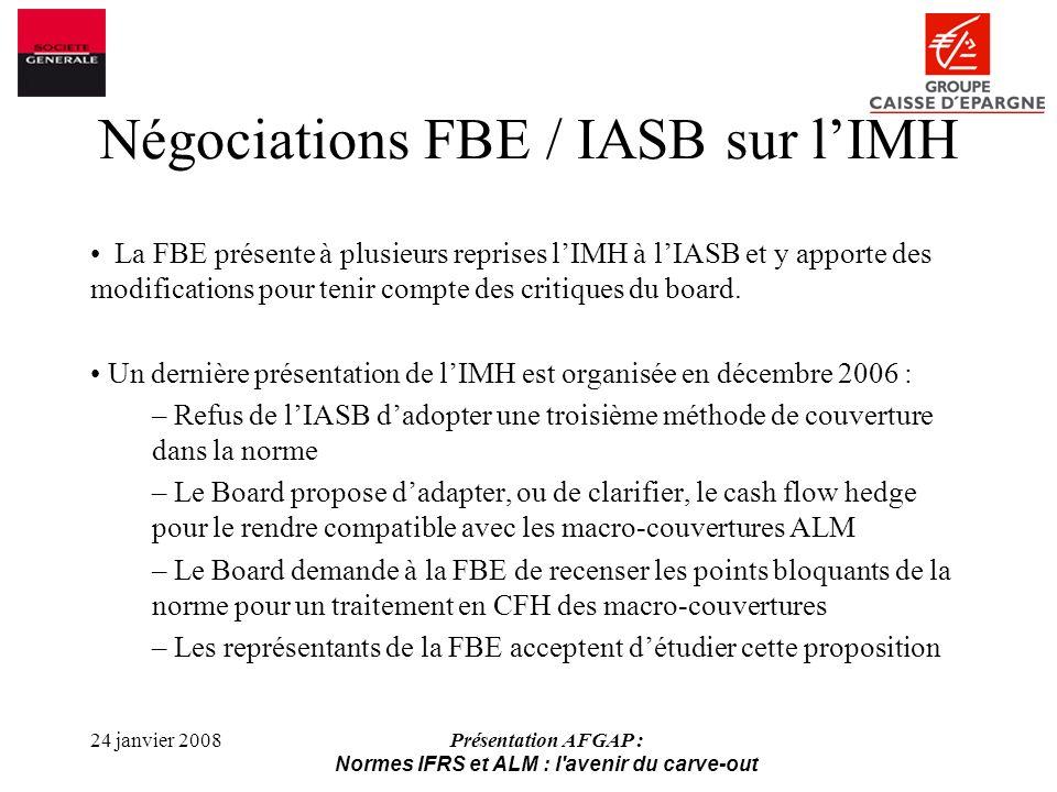 Négociations FBE / IASB sur l'IMH