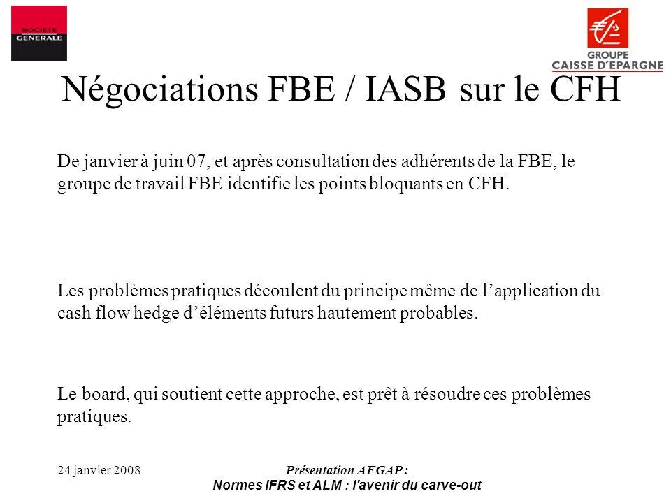 Négociations FBE / IASB sur le CFH