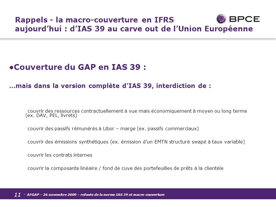 Couverture du GAP en IAS 39 :
