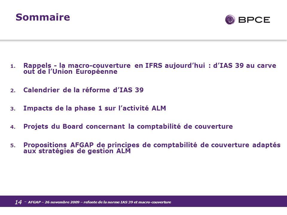 Sommaire Rappels - la macro-couverture en IFRS aujourd'hui : d'IAS 39 au carve out de l'Union Européenne.