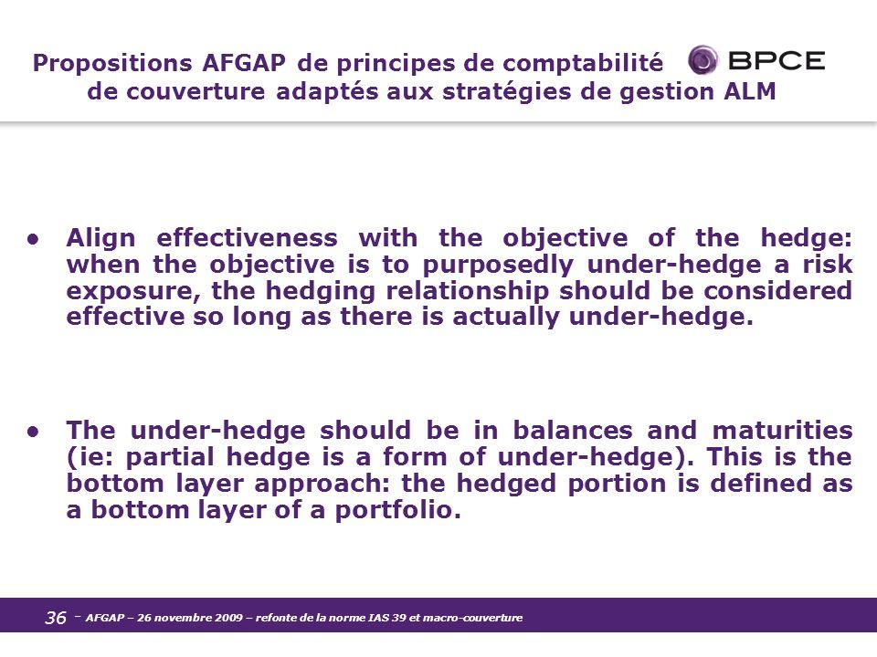 Propositions AFGAP de principes de comptabilité de couverture adaptés aux stratégies de gestion ALM