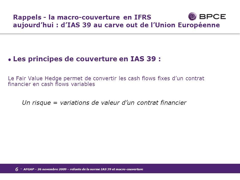 Rappels - la macro-couverture en IFRS aujourd'hui : d'IAS 39 au carve out de l'Union Européenne