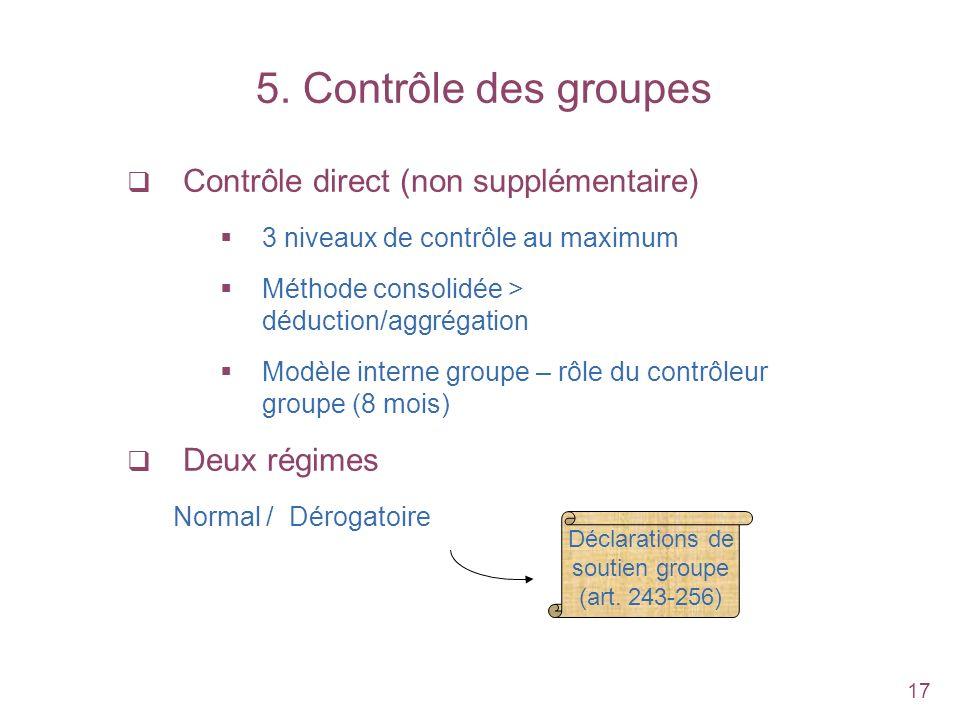 5. Contrôle des groupes Contrôle direct (non supplémentaire)
