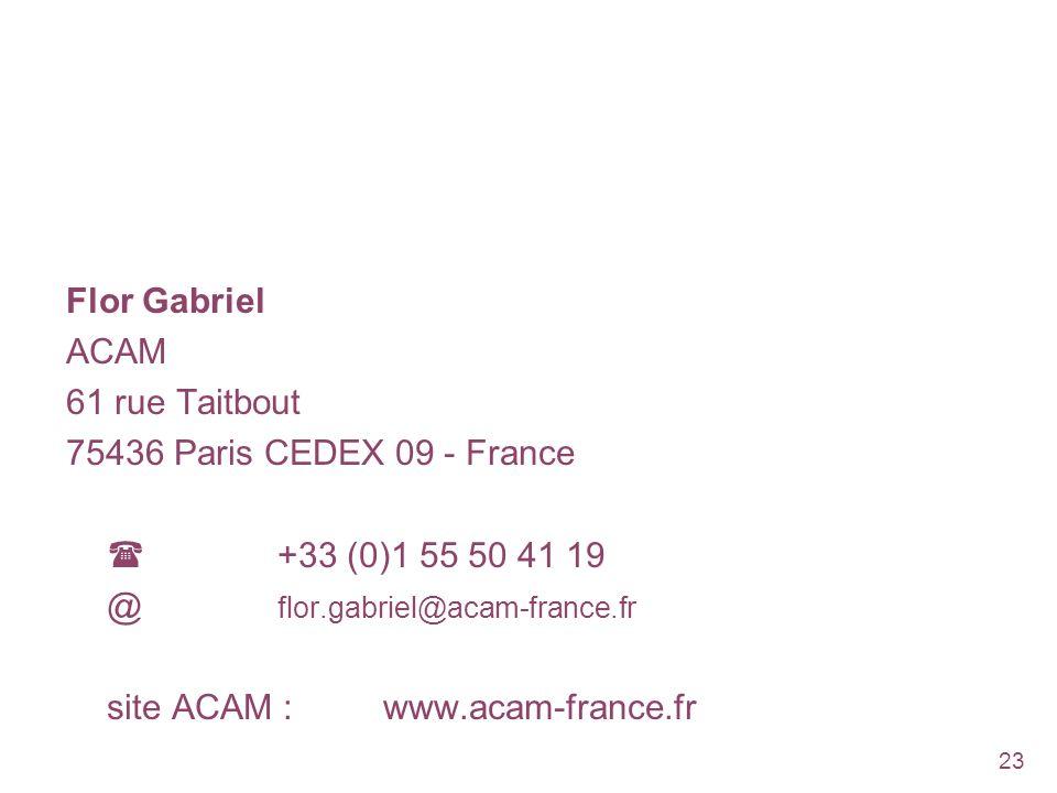 Flor Gabriel ACAM. 61 rue Taitbout. 75436 Paris CEDEX 09 - France.  +33 (0)1 55 50 41 19. @ flor.gabriel@acam-france.fr.