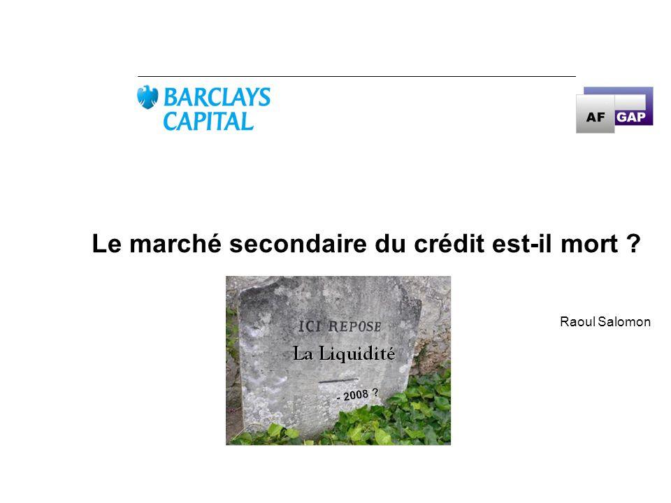Le marché secondaire du crédit est-il mort
