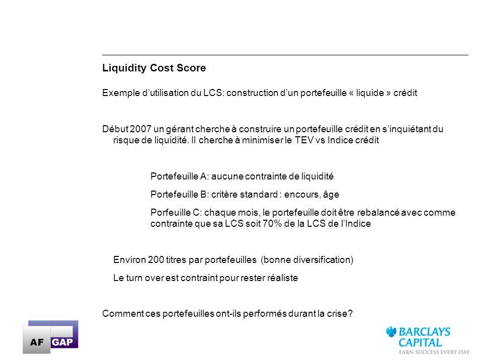 Liquidity Cost Score Exemple d'utilisation du LCS: construction d'un portefeuille « liquide » crédit.