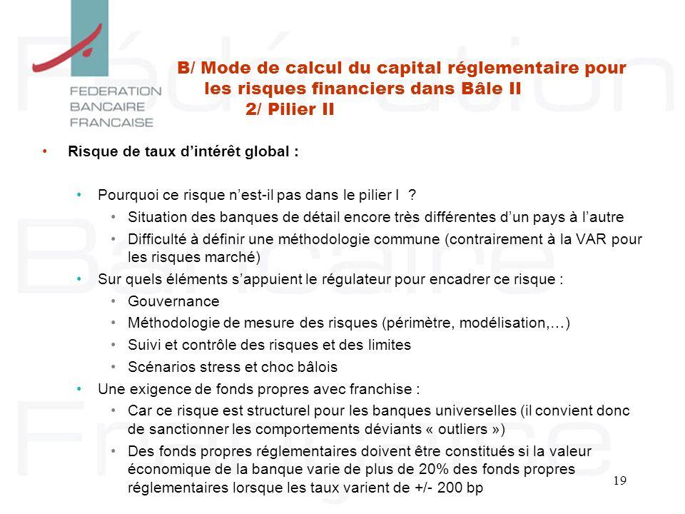 B/ Mode de calcul du capital réglementaire pour les risques financiers dans Bâle II 2/ Pilier II