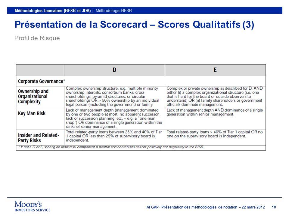 Présentation de la Scorecard – Scores Qualitatifs (3)