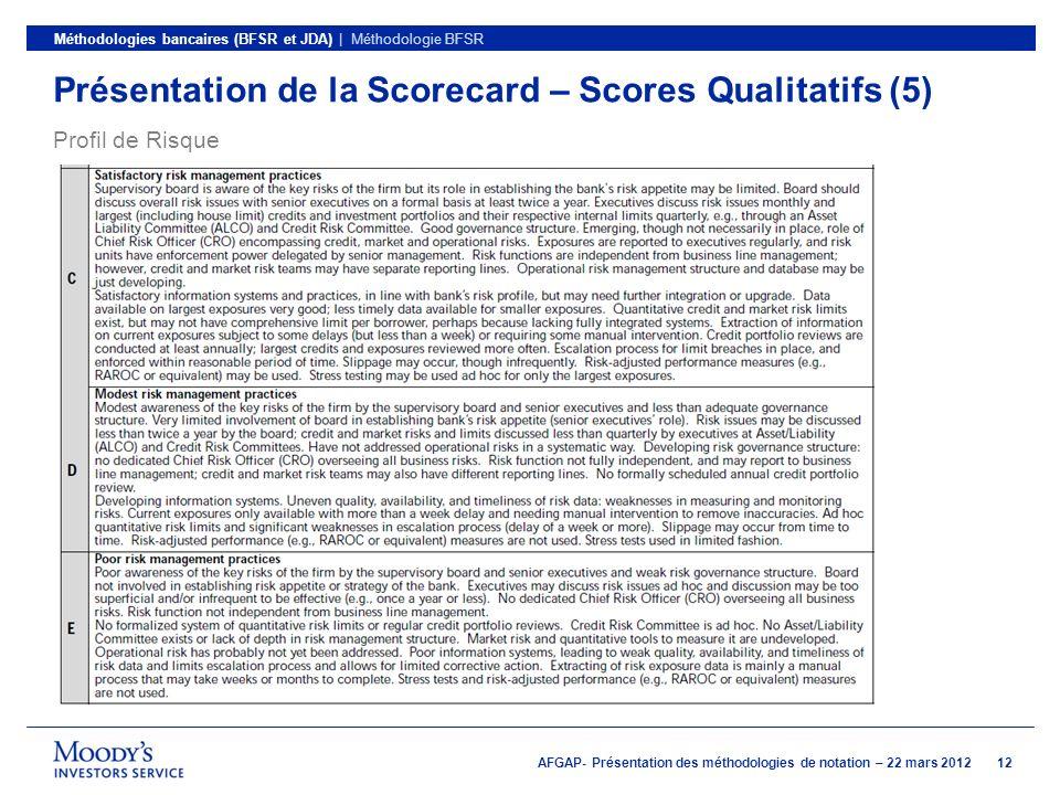 Présentation de la Scorecard – Scores Qualitatifs (5)