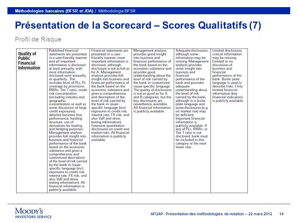 Présentation de la Scorecard – Scores Qualitatifs (7)