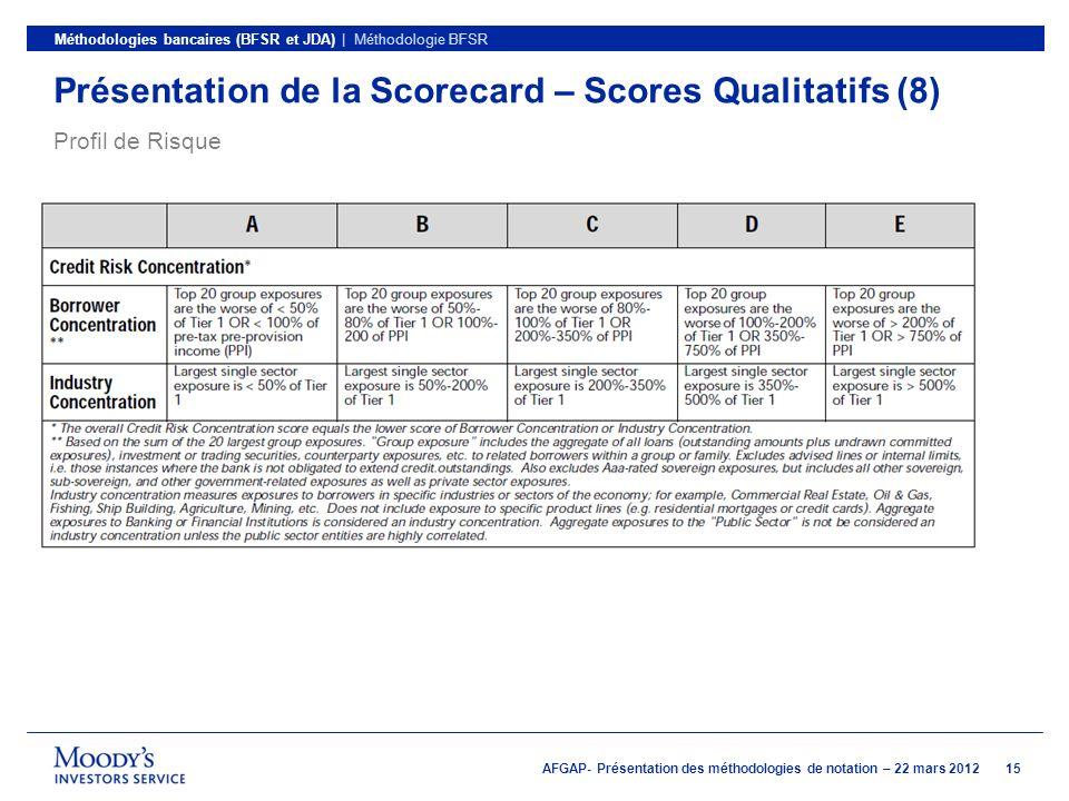 Présentation de la Scorecard – Scores Qualitatifs (8)