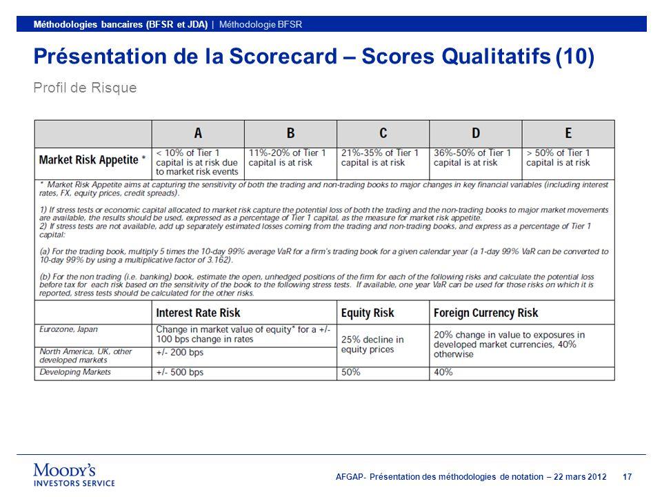 Présentation de la Scorecard – Scores Qualitatifs (10)