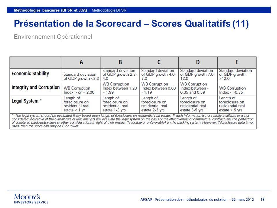 Présentation de la Scorecard – Scores Qualitatifs (11)