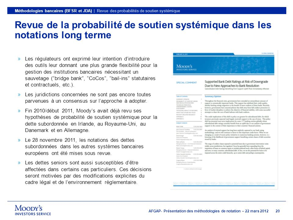 Méthodologies bancaires (BFSR et JDA) | Revue des probabilités de soutien systémique