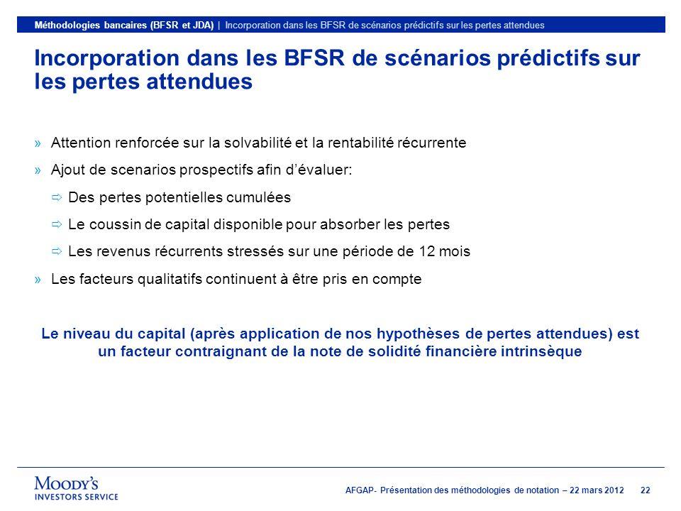 Méthodologies bancaires (BFSR et JDA) | Incorporation dans les BFSR de scénarios prédictifs sur les pertes attendues