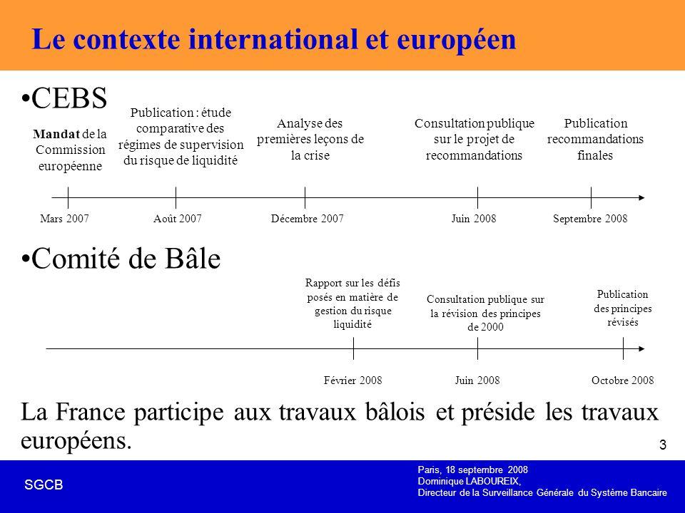 Le contexte international et européen