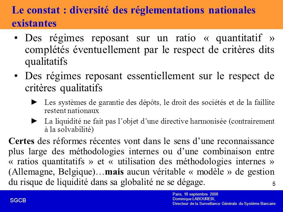Le constat : diversité des réglementations nationales existantes