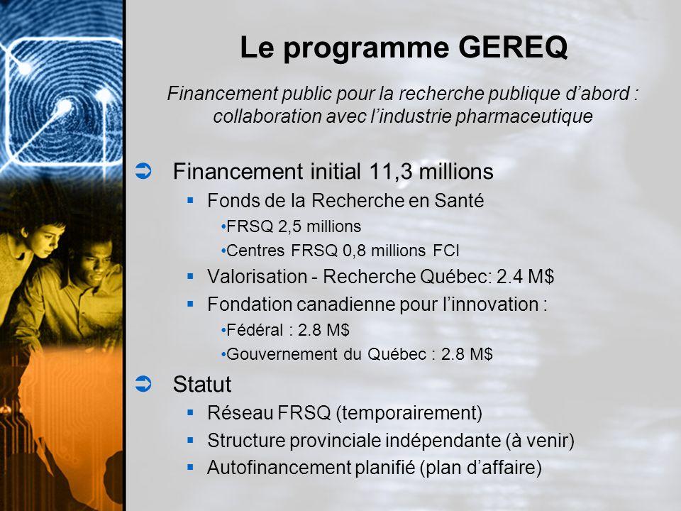 Le programme GEREQ Financement initial 11,3 millions Statut
