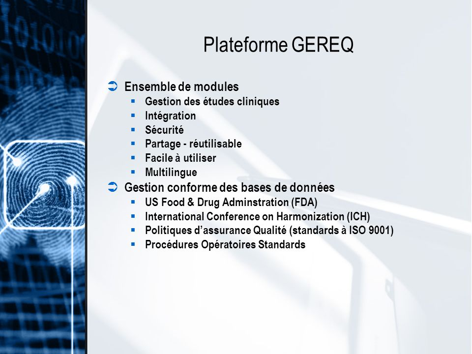 Plateforme GEREQ Ensemble de modules