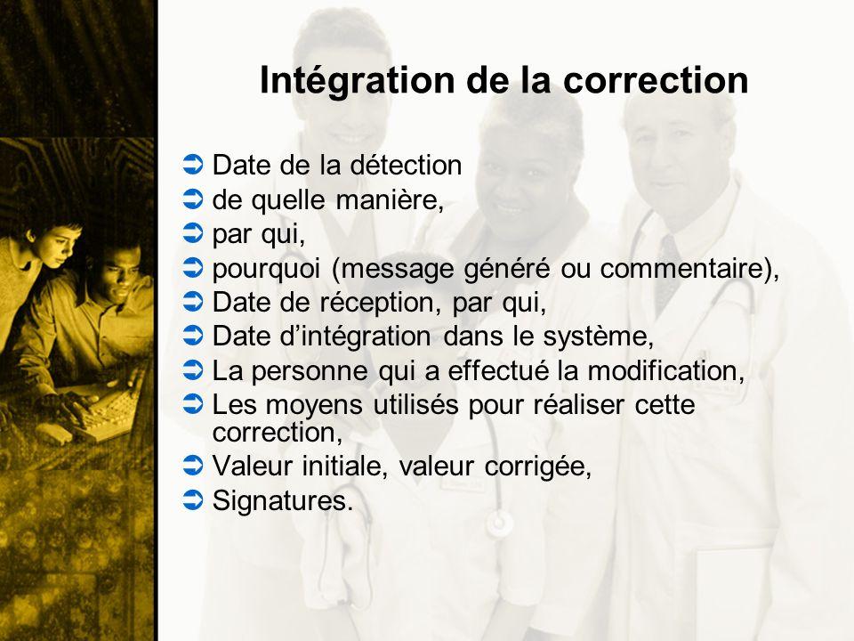 Intégration de la correction