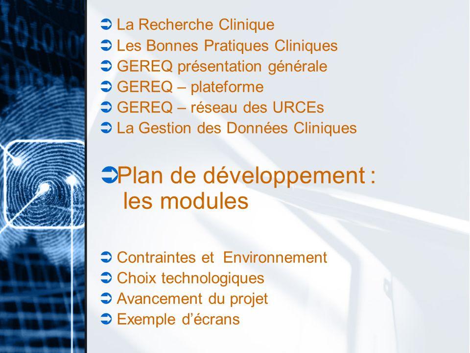 Plan de développement : les modules