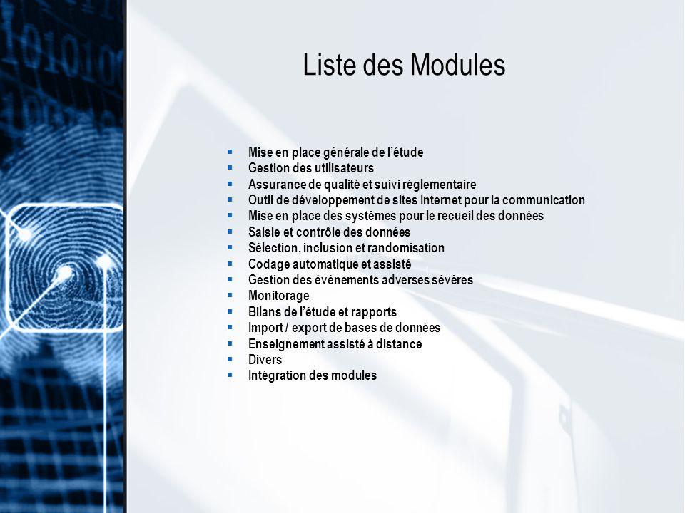 Liste des Modules Mise en place générale de l'étude