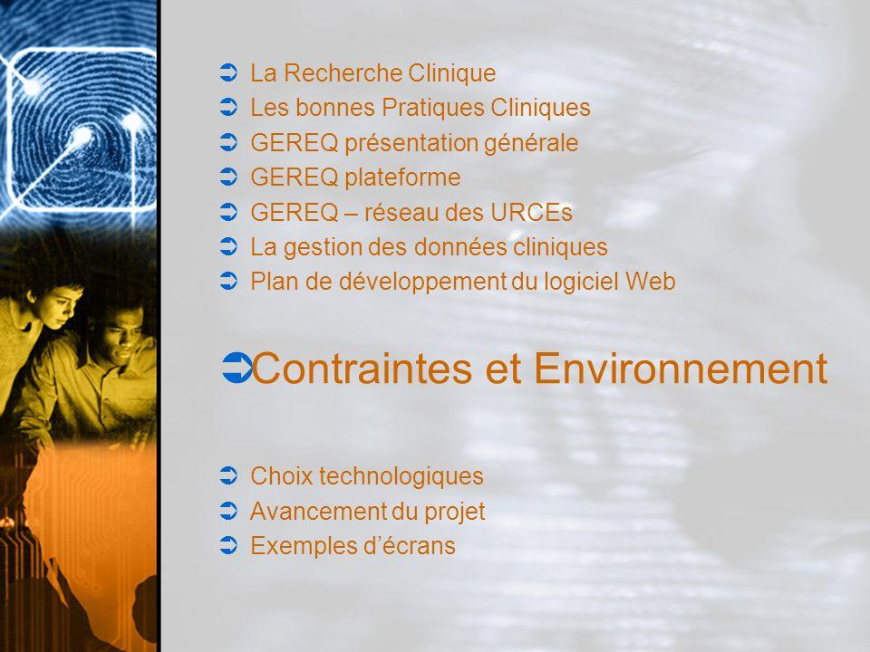 Contraintes et Environnement