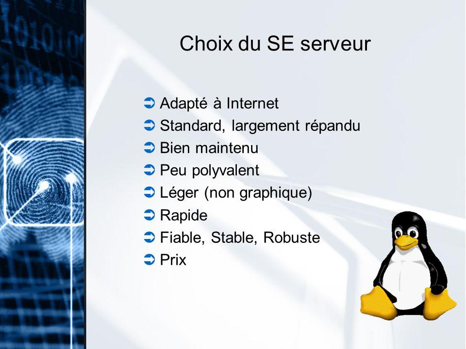 Choix du SE serveur Adapté à Internet Standard, largement répandu