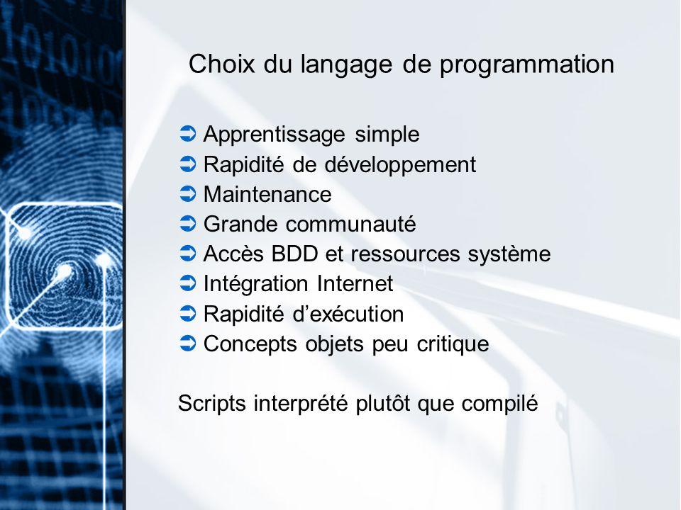 Choix du langage de programmation