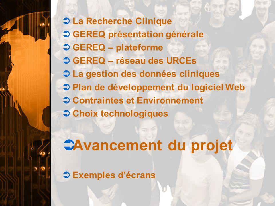 Avancement du projet La Recherche Clinique GEREQ présentation générale