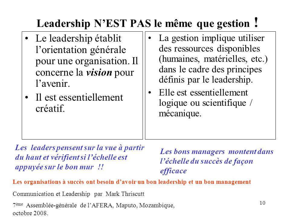 Leadership N'EST PAS le même que gestion !
