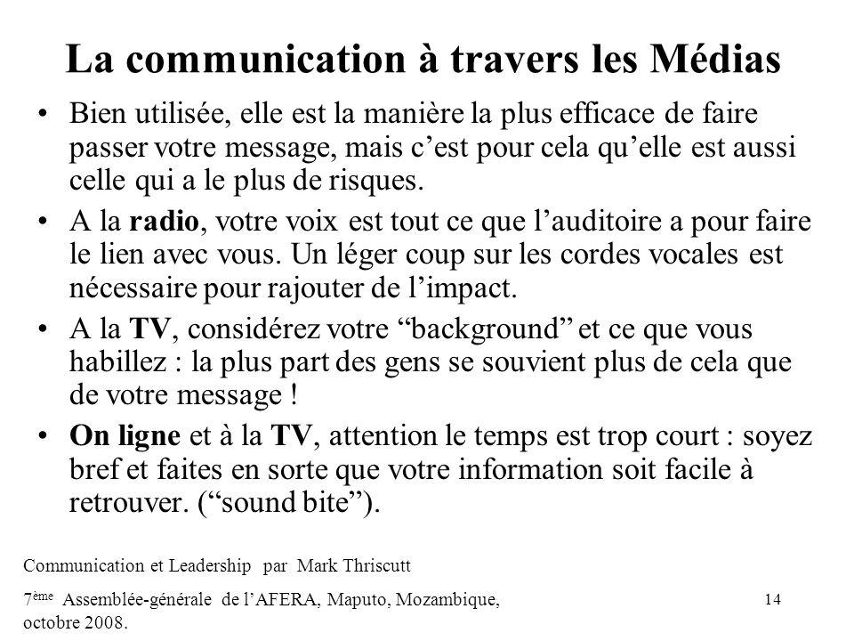 La communication à travers les Médias