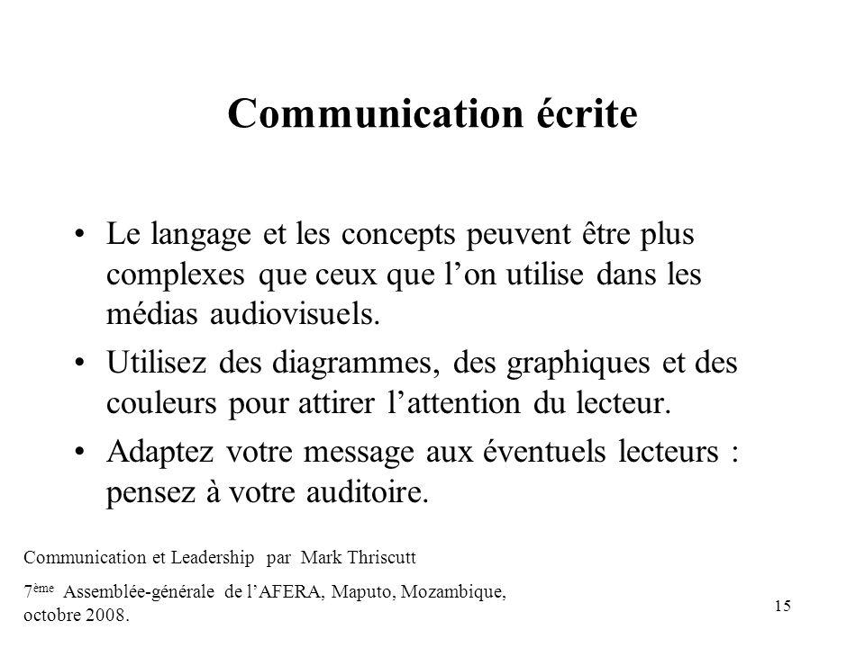 Communication écrite Le langage et les concepts peuvent être plus complexes que ceux que l'on utilise dans les médias audiovisuels.