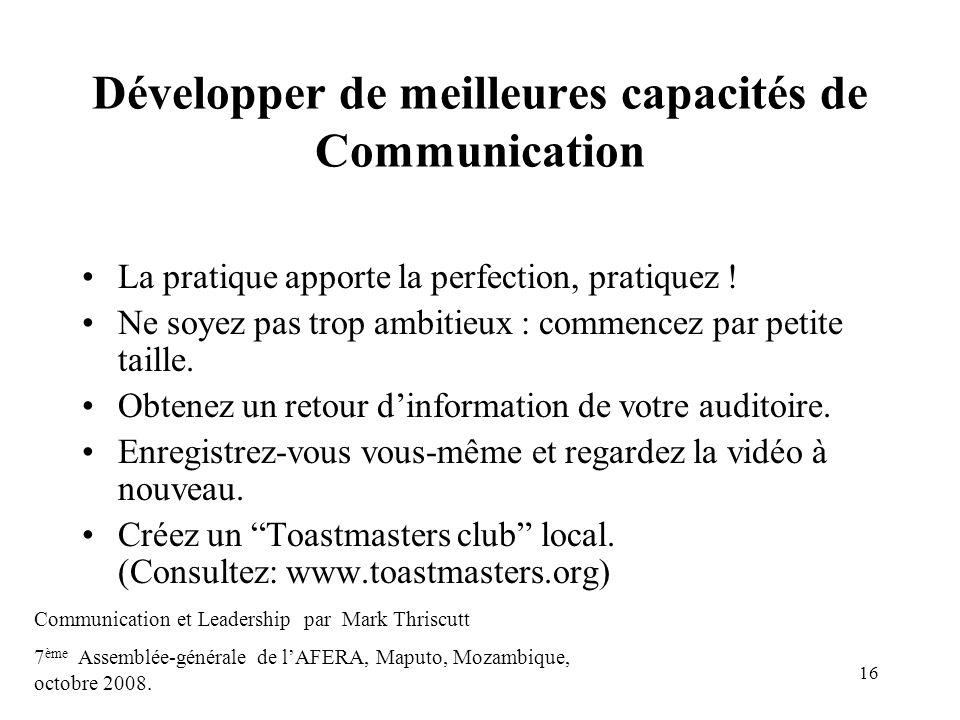Développer de meilleures capacités de Communication