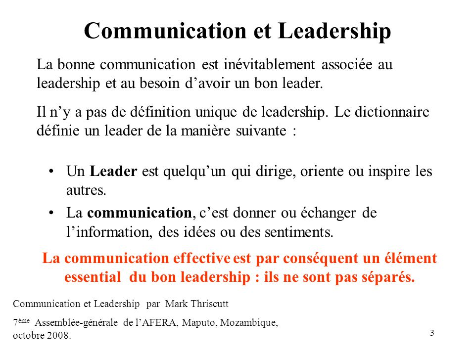 Communication et Leadership