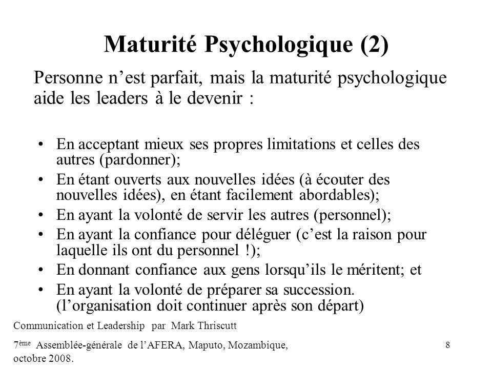 Maturité Psychologique (2)