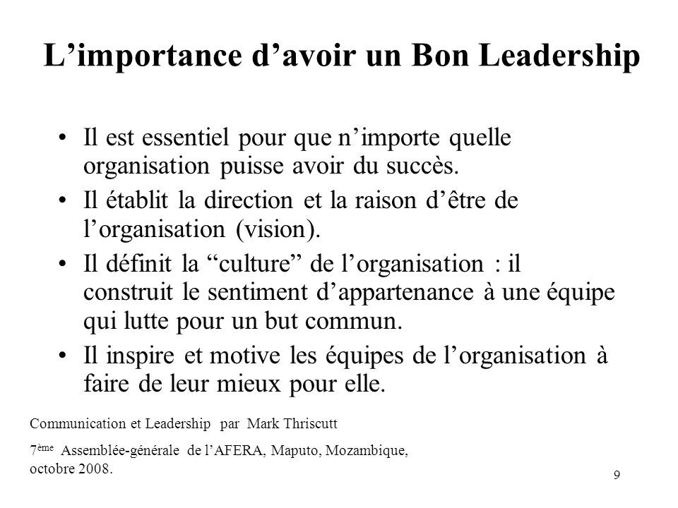 L'importance d'avoir un Bon Leadership
