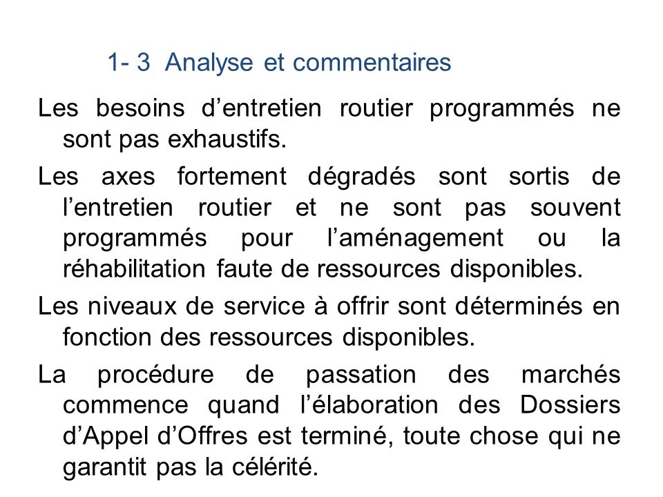 1- 3 Analyse et commentaires