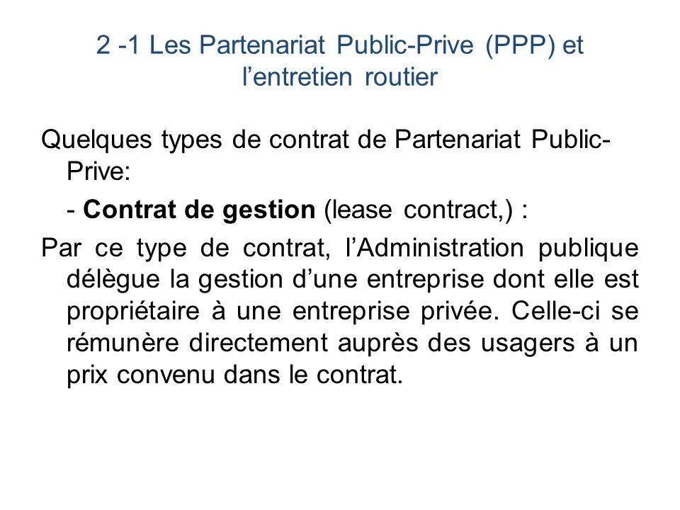 2 -1 Les Partenariat Public-Prive (PPP) et l'entretien routier