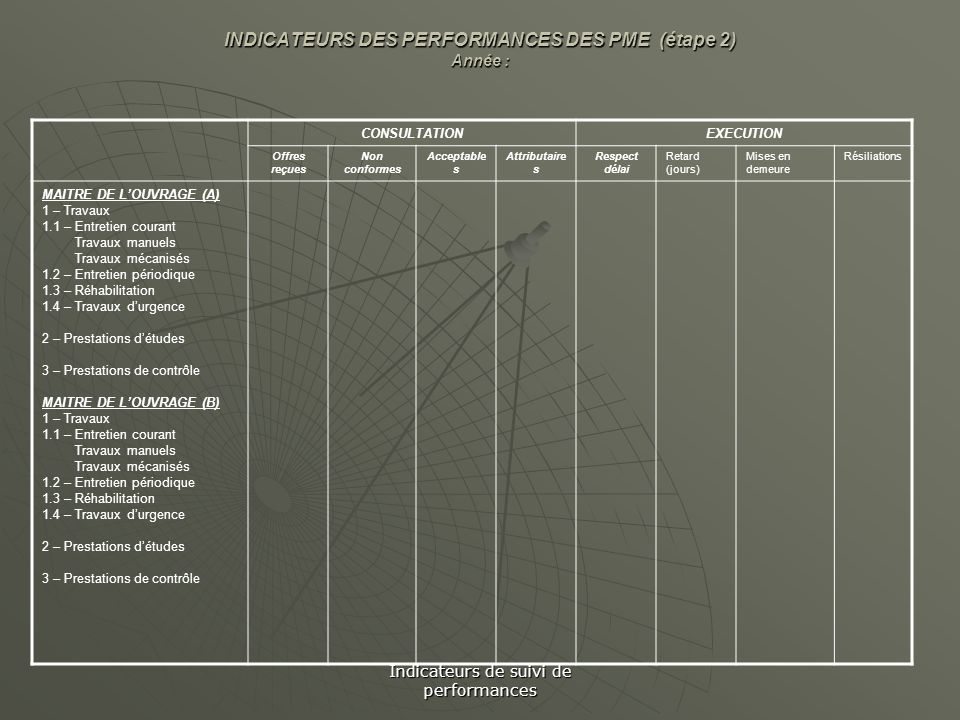 INDICATEURS DES PERFORMANCES DES PME (étape 2) Année :