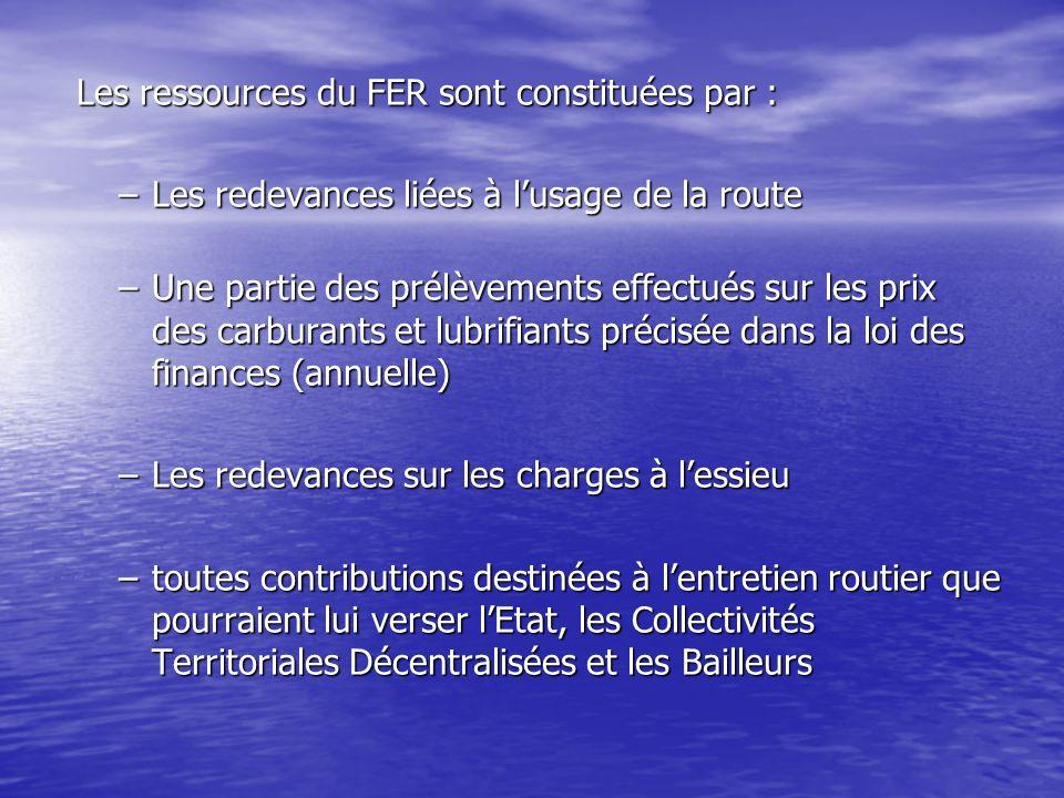 Les ressources du FER sont constituées par :