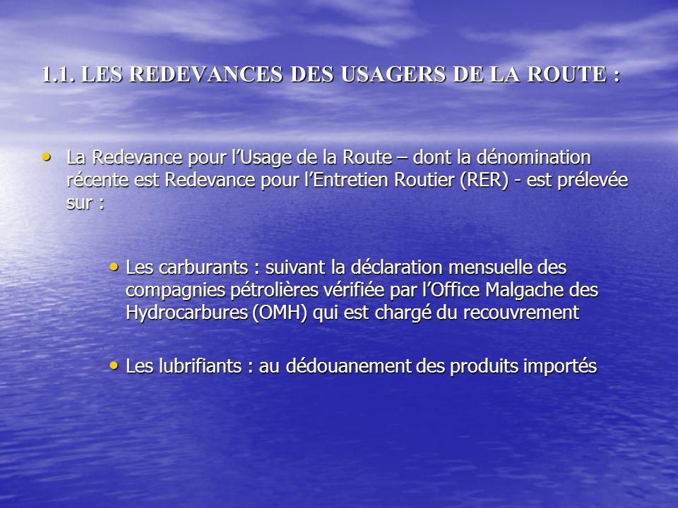 1.1. LES REDEVANCES DES USAGERS DE LA ROUTE :