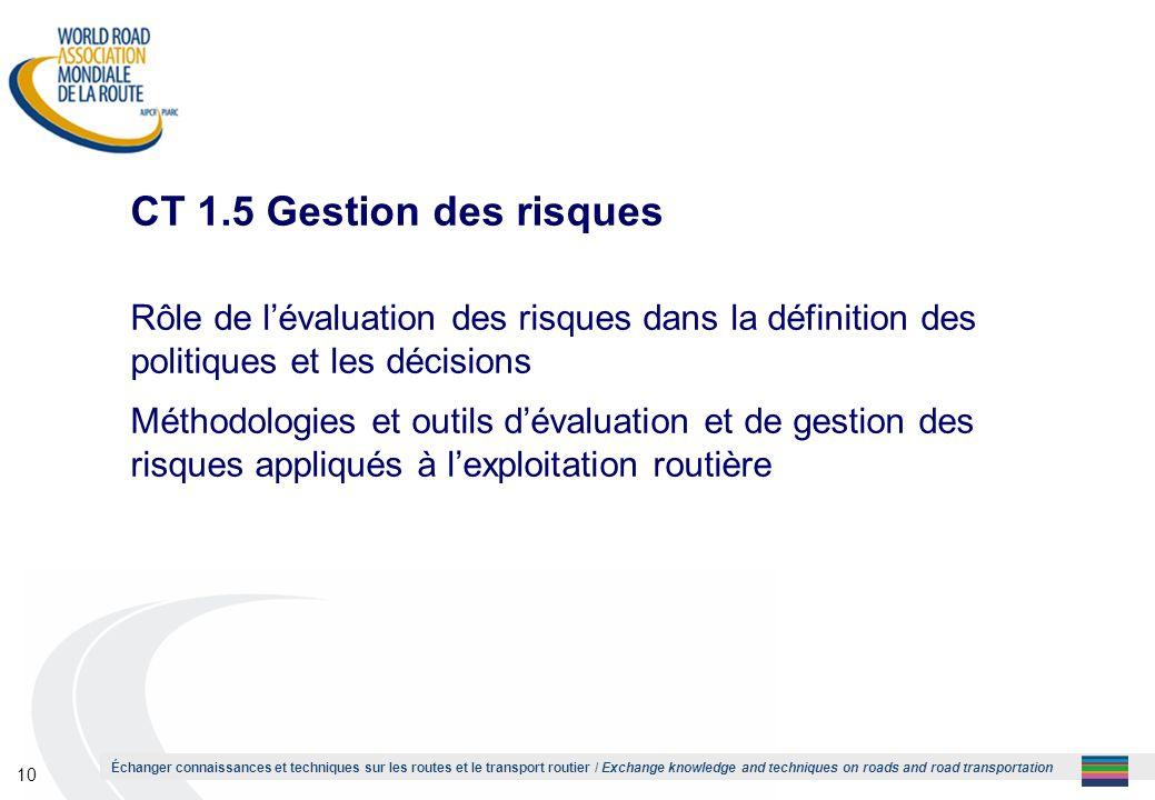 1 CT 1.5 Gestion des risques. Rôle de l'évaluation des risques dans la définition des politiques et les décisions.