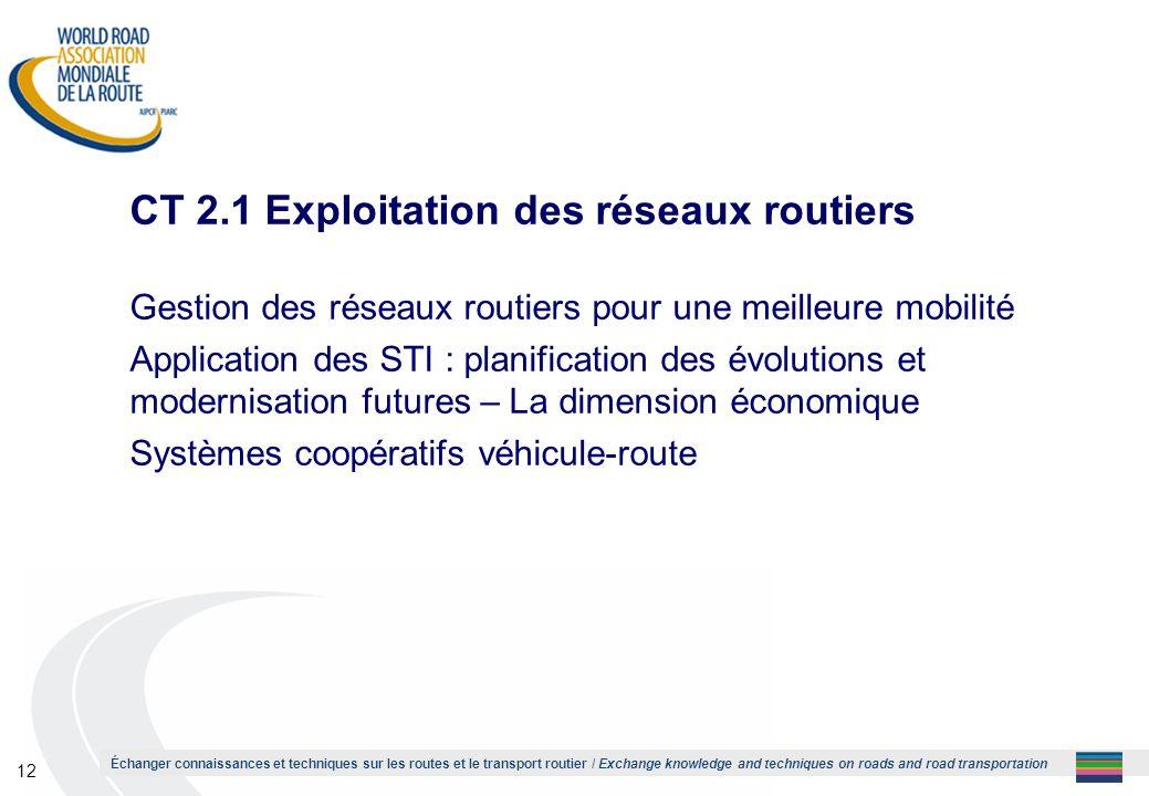 CT 2.1 Exploitation des réseaux routiers
