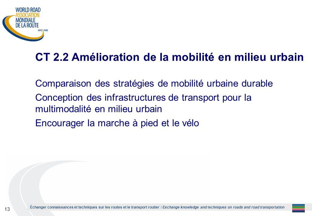 CT 2.2 Amélioration de la mobilité en milieu urbain